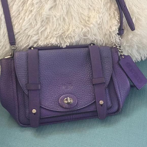 Purple coach shoulder clutch purse f6fd99442e3d8